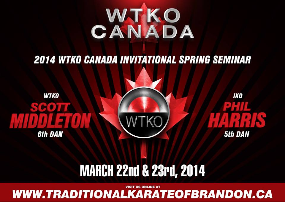 2014 WTKO Canada Invitational Spring Seminar hosted by the Traditional Karate of Brandon.