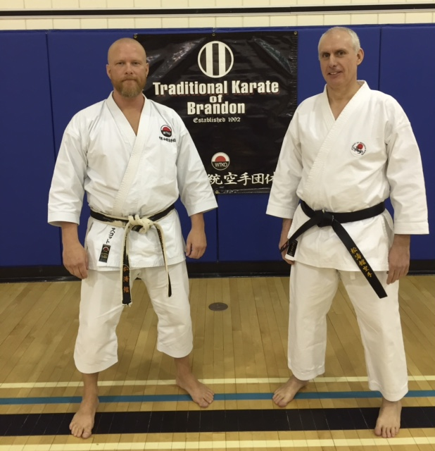 Sensei Scott Middleton, 6th Dan WTKO and Sensei Andy Marsh, 5th Dan ASK at the conclusion of the 2015 WTKO Canada Invitational Spring Seminar held on March 21st & 22nd, 2015.