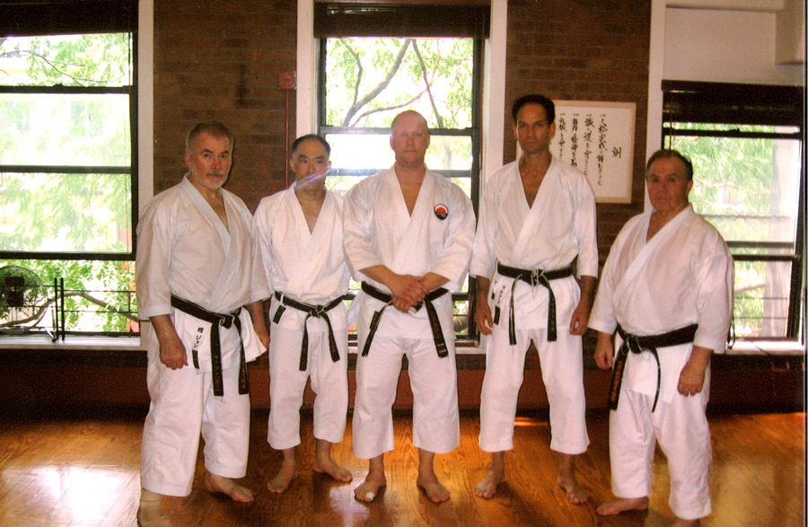 Scott Middleton with the senior instructors of the WTKO. (R-L) Sensei's John Mullin, Eiji Maeda, Scott Middleton, Richard Amos, Fredrick Serricchio. 2009 WTKO Summer Camp in New York City.