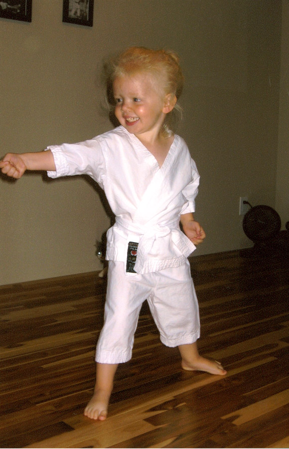 Abagail Middleton beginning her Karate journey at the age of three. Circa 2009.