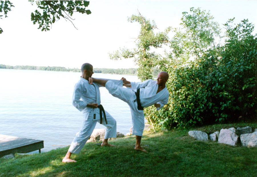 Scott Middleton (R) and Tim Janz (L). 2nd Annual Bower Lake Camp. Tim Janz (Sandan) is one of the original and most loyal students of the Traditional Karate of Brandon. Circa 2000.
