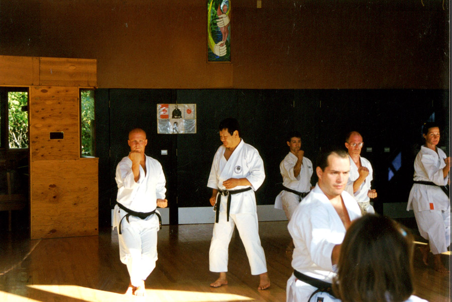 Scott Middleton under the watchful eye of Sensei Yutaka Yaguchi. 1998 ISKF Manitoba Camp.