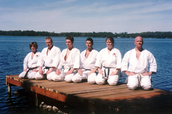 Bower Lake Camp 2001. (R-L) Scott Middleton, Pam Middleton, Tim Janz, Ryan Middleton, Alex Bergman, Dawn Janz.