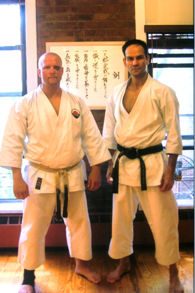 Scott Middleton with Sensei Richard Amos. Circa 2008. At the conclusion of 5th Dan examination. WTKO Honbu in New York City.