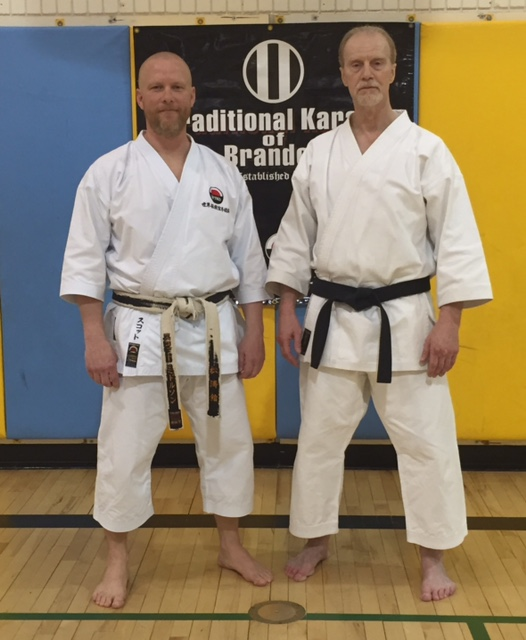 Sensei Scott Middleton (L) & Sensei Steve Ubl (R) at the conclusion of the 2016 WTKO Canada Invitational Spring Seminar. Seminar was held on March 19th & 20th in Brandon, Manitoba.
